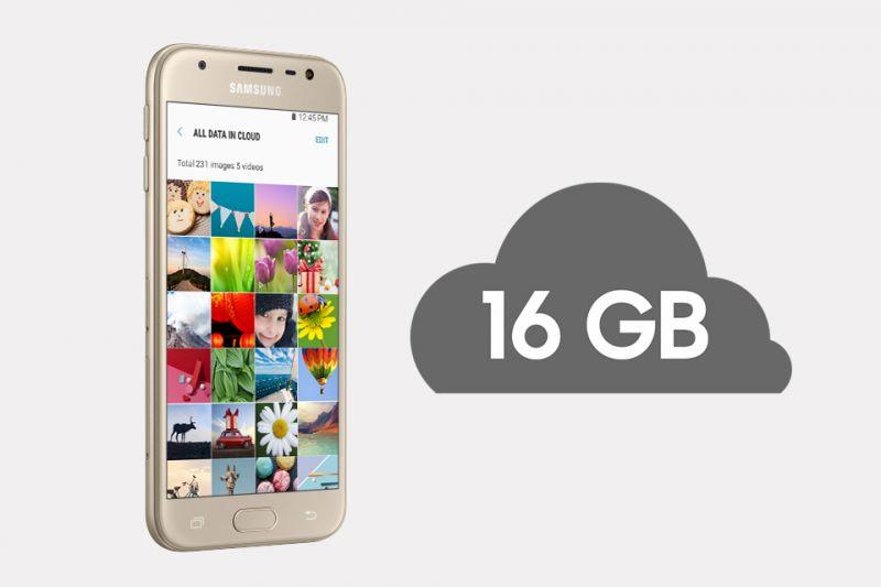 Samsung Duża pojemność pamięci wewnętrznej smartfona (16 GB). Łatwo rozszerzysz aż o 256 GB