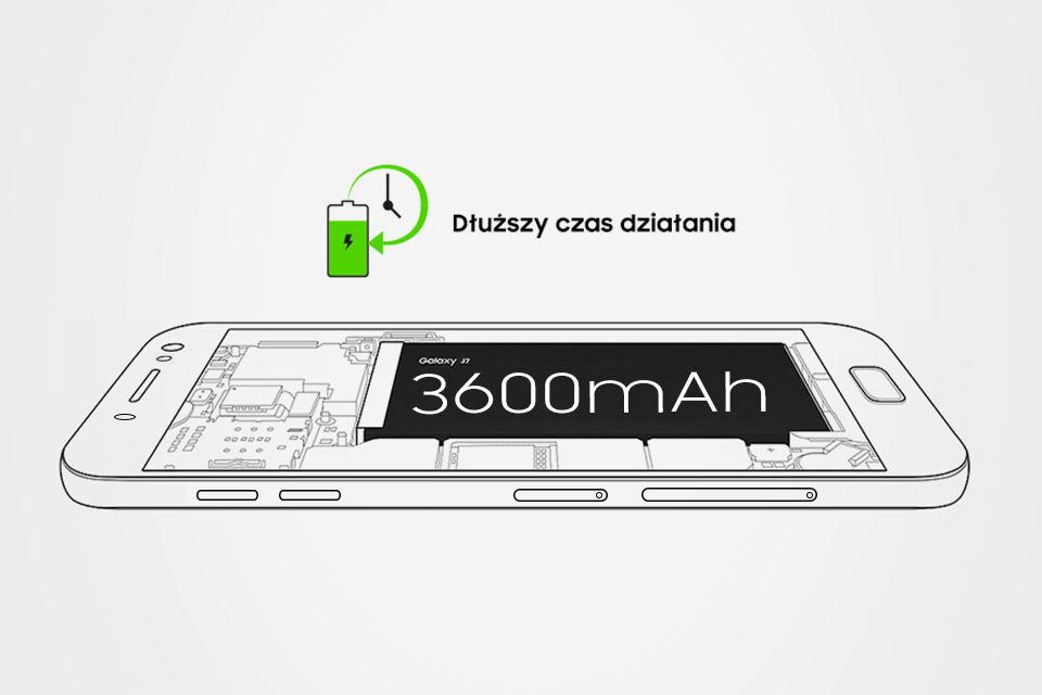 Samsung Dłuższy czas pracy. Bateria 3600 mAh