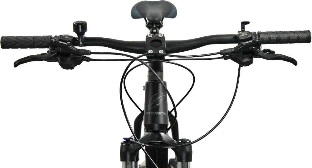 Rower górski MTB INDIANA X-Pulser 5.9 M23 29 cali męski Czarno-grafitowy kierownica marki MODE aluminiowy wspornik manetki pokryte gumowym materiałem dzwonek